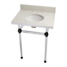 Fauceture Vanity and Sink With Acrylic Pedestal, Oil Rubbed Bronze