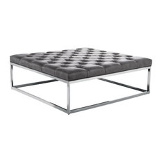 ARTEFAC - Square Leather Ottoman Large, Gray - Footstools and Ottomans