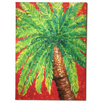 "My Island - Palm Tree Canvas Art, 24x36 - Palm Tree Painting on Canvas  is vibrant and quite colorful.  You'll love this piece in any space in your home where a pop of color is needed!  It is mounted on a 1"" Frame and is in Shades Of Orange, Red, Yellow And Green. Reproduction Of Original By My Island Artist, Gerri Hyman."