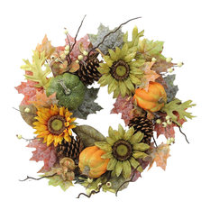 """24"""" Artificial Sunflowers, Pumpkins, Pinecone, Maple Leaves And Berries Wreath"""