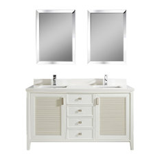 "Aurora 63"" Vanity Set With White Quartz Top, White"