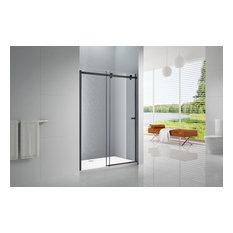 """Primo Sliding Shower Door, 6MM Glass, Black, 60""""x72"""", Door Only"""