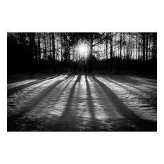 """Winter Shadows"" Black & White Landscape Unframed Wall Art Print, 11""x14"""