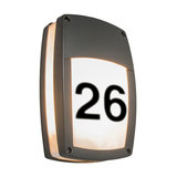 Wall Lamp Glow Recta 1 Dark Grey with House Number Stickers