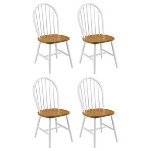 Modern Farmhouse Set of 4 Dining Chairs, Oak Wood, Durable Lacquered Finish