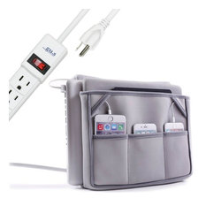 Bedside Charging Caddy and Organizer, Unit With Ac Power Strip