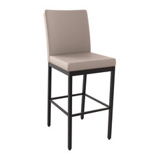 Perry Stool, Textured Dark Brown Metal/Warm Grey Faux Leather, Counter Height