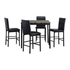 Arjen 5-piece Dining & Counter Sets, Black, Counter Height