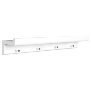 Oakley Wall Mounted Floating Shelf With Hooks, White, 60 cm