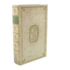 Classic Vintage Style Book Box, Decorative Storage Green Ivory Gold