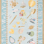 Momeni - Lil Mo Classic 4'x6' Hand Hooked Blue Rectangle Rug - Little ones will love the illustrative look of this children's area rug collection that captures storybook style with a hand-hooked design. From toys and trains to friendly insects and ABCs, each rug evokes an aire of decorative nostalgia as it defines the space beneath a crib or big kid bed. Easy-care cotton fibers add a cozy layer to nursery room floors with a cotton backing and baby soft surface suitable for supporting first steps and every stride after.