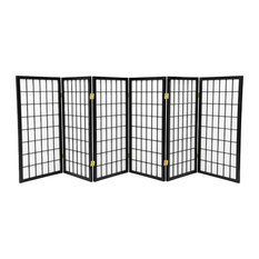 3' Tall Window Pane Shoji Screen, Black, 6 Panels