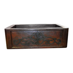 Farmhouse Hammered Copper Kitchen Single Basin Sink Scroll Front, 33""