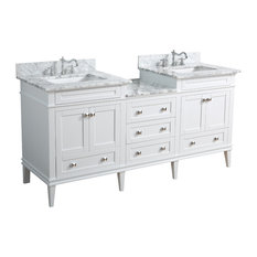 "Eleanor 72"" Double Bathroom Vanity With Carrara Top, White"