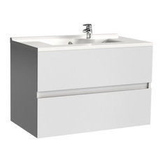 Rosaly Bathroom Vanity Unit, 80 cm, White Without Legs