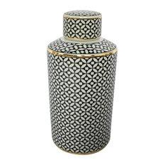 "Sagebrook Home White/Black Jar With Gold Trim 12/5.5"""