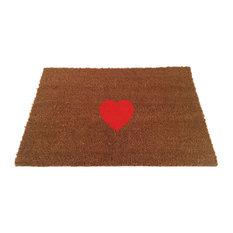 """Heart Doormat, Red, 24""""x35"""""""