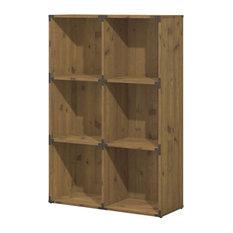 6-Cube Bookcase, Vintage Golden Pine Finish