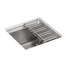 Kohler 8 Degree Under-Mount Bar Sink w/ Bottom Bowl Sink Rack & Wine Glass Rack