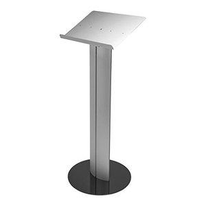 Modern Stylish Lectern, Black Finished Steel Base and Silver Aluminium Shelf