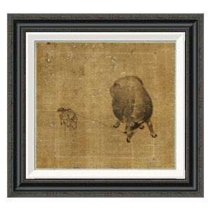Small Boy Struggling To Lead A Water Buffalo Poster Print Farmhouse Prints And Posters By Posterazzi