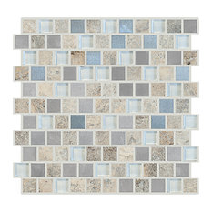 "12""x12"" Offset Imagination Mosaic, Set Of 4, Silver Lining"
