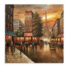 """Paris Nights"" Hand-Painted Canvas, 48""x48"""