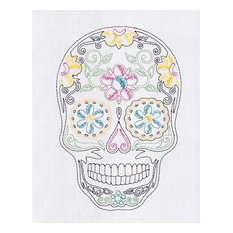 Sugar Skull Day of the Dead Embroidered Flour Sack Kitchen Dish Towel