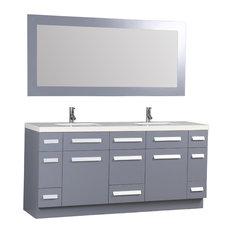 "Moscony 72"" Double Sink Vanity Set, Gray With White Sparkling Quartz Countertop"