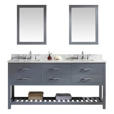 Caroline Estate 72-inch Double Bath Vanity Gray Marble Top Square Sink Mirrors