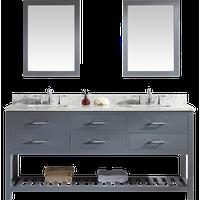 "Caroline Estate 72"" Double Vanity, Gray, Polished Chrome, Square, Double Mirror"