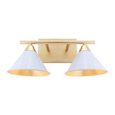 """Yvette 2-Light 16"""" Metal Vanity Wall Light, White and Gold"""