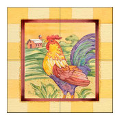 Tile Mural, Farmhouse Rooster by Paul Brent