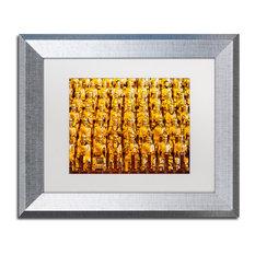 "Philippe Hugonnard 'Golden Buddhas' Art, Silver Frame, White Matte, 14""x11"""
