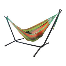 Double Mayan Hammock With Universal Stand, Hot Colors