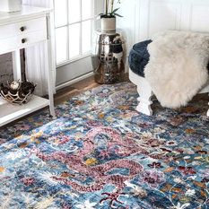 nuLOOM - Fading Floral Dragon Area Rug, Blue, 4'x6' - Area Rugs
