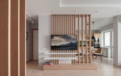 Houzz тур: Квартира с деревянными перегородками и кирпичной облицовкой