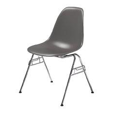 Herman Miller   Eames Molded Plastic Side Chair, Greystone, Standard Glides    Living Room