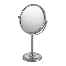 Recessed Base Free Standing Mirror With 10x and 1x Magnification, Chrome