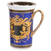 Royalty Porcelain Blue Coffee/Tea Cup Mug, Luxury Greek Key, 12 oz.