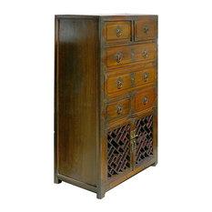 Korean Brass Hardware Deco Dresser Storage Side Cabinet