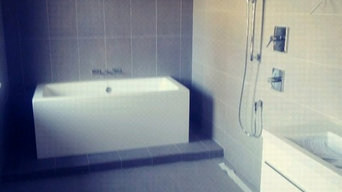 Large format tile bathroom matching all joints walls and floor