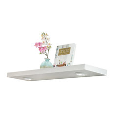 """Floating Wall Shelf With Battery Powered Touch Activated LED Light, White, 36"""""""