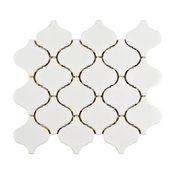 SomerTile Marra Lantern Porcelain Mosaic Tile, Glossy White, Case of 10