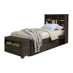 Highlands Bookcase Bed, Espresso, Twin With Underbed Storage