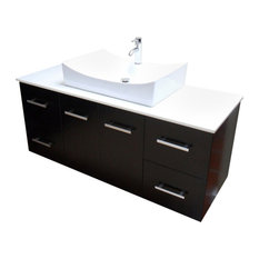 Modern Contemporary Bathroom Vanity *WALL MOUNT*, Espresso, 55""