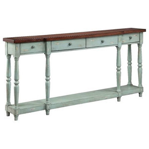 Distressed Weathered Wood Console Table