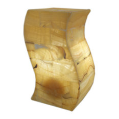 Yellow Artisan Hand Crafted Curved Marble Accent Lamp