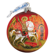 Hand Painted Scenic Glass Ornament Icon St George Ball