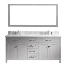 """Caroline 72"""" Double Bathroom Vanity, Cashmere Gray With Square Sink"""